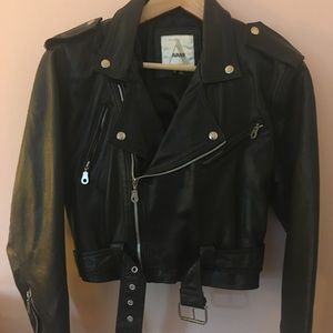 Avanti Black Leather Biker Jacket